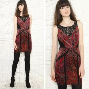 UO Ecote velvet brocade and lace panel bodycon, M